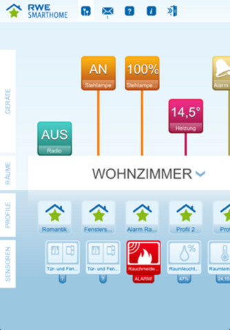 RWE SmartHome iPhone App Interface